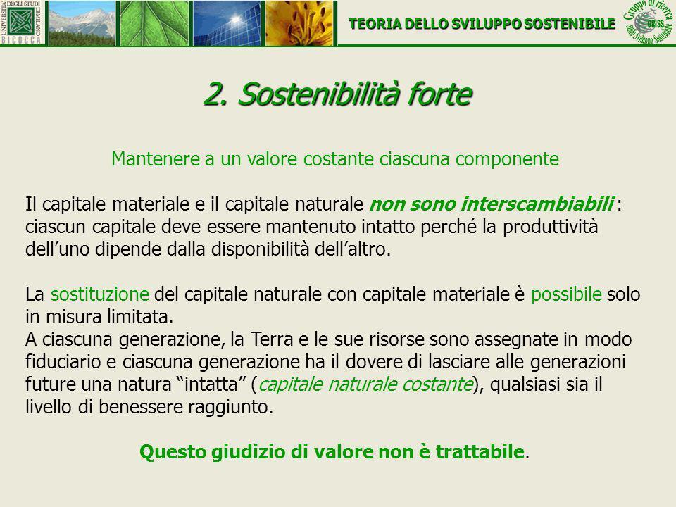 2. Sostenibilità forte Mantenere a un valore costante ciascuna componente Il capitale materiale e il capitale naturale non sono interscambiabili : cia