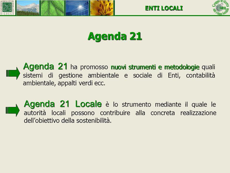 Agenda 21 Locale Agenda 21 Locale è lo strumento mediante il quale le autorità locali possono contribuire alla concreta realizzazione dellobiettivo de