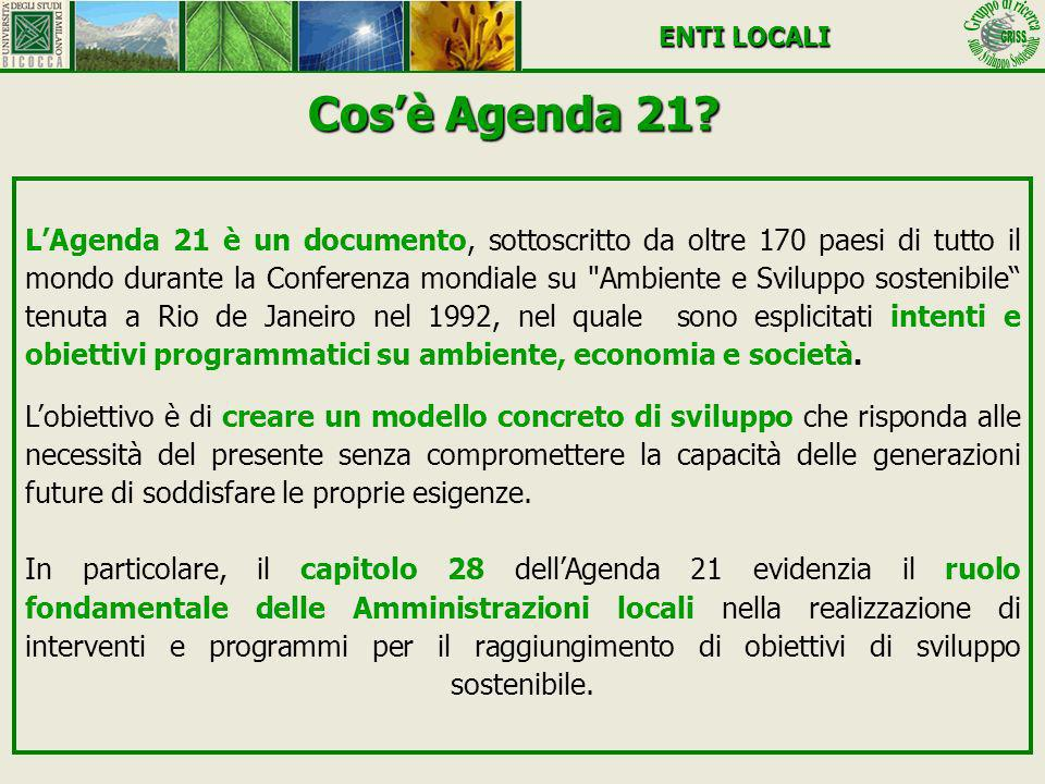 Cosè Agenda 21? LAgenda 21 è un documento, sottoscritto da oltre 170 paesi di tutto il mondo durante la Conferenza mondiale su