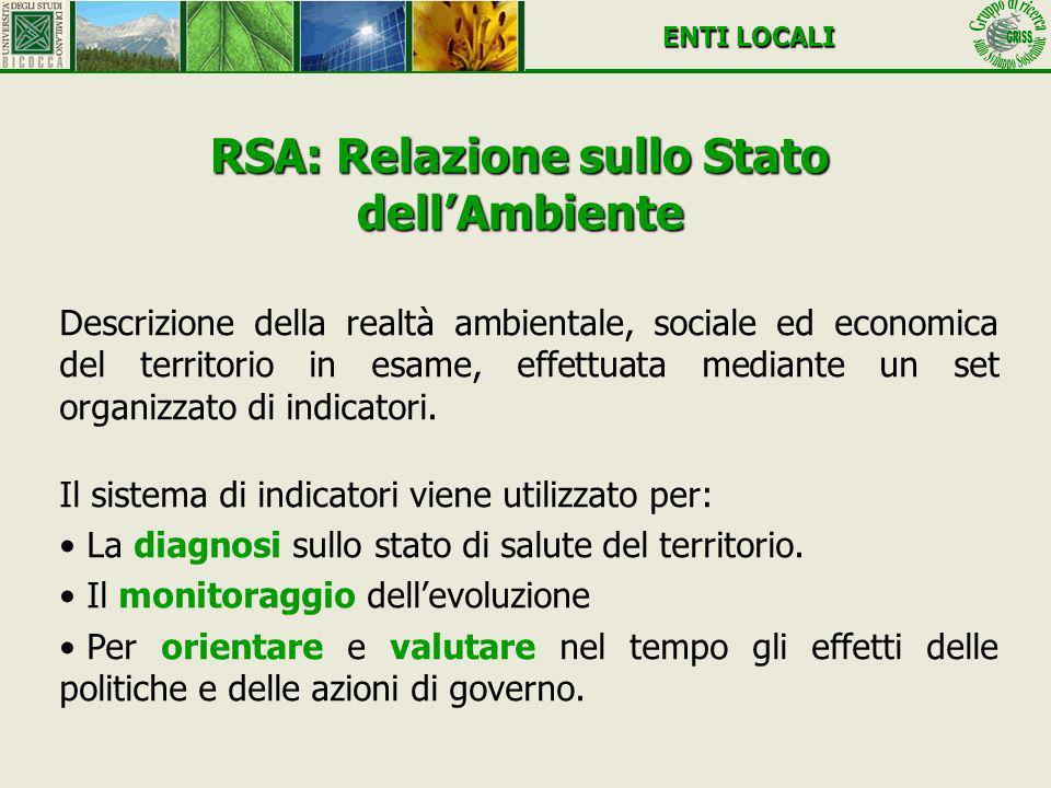 RSA: Relazione sullo Stato dellAmbiente Descrizione della realtà ambientale, sociale ed economica del territorio in esame, effettuata mediante un set