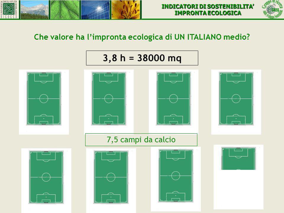 Che valore ha limpronta ecologica di UN ITALIANO medio? 3,8 h = 38000 mq 7,5 campi da calcio INDICATORI DI SOSTENIBILITA IMPRONTA ECOLOGICA