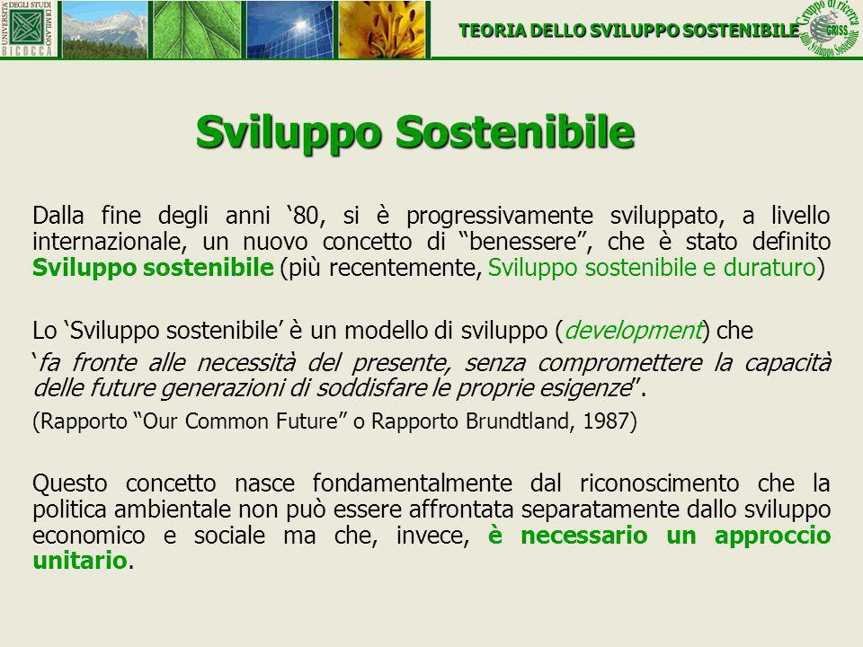 Sviluppo Sostenibile Dalla fine degli anni 80, si è progressivamente sviluppato, a livello internazionale, un nuovo concetto di benessere, che è stato