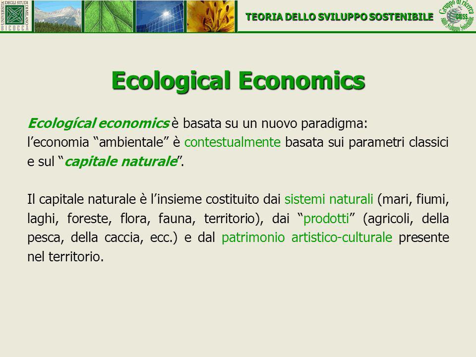 Ecological Economics Ecologícal economics è basata su un nuovo paradigma: leconomia ambientale è contestualmente basata sui parametri classici e sul c