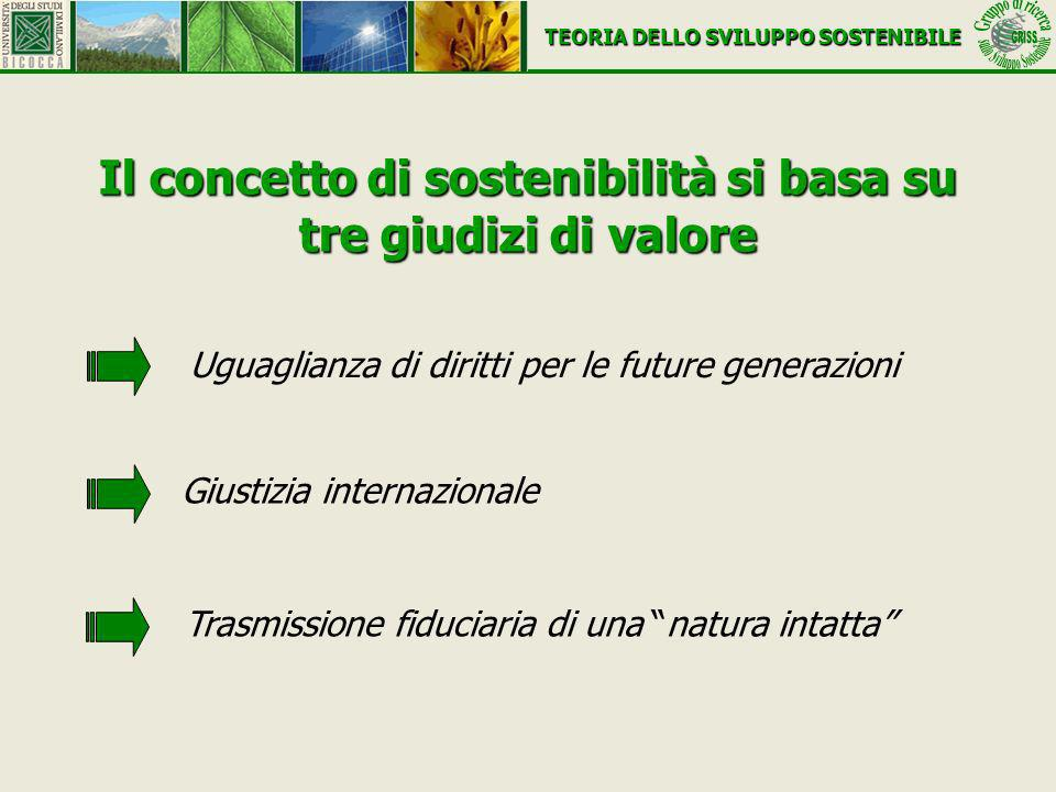 Il concetto di sostenibilità si basa su tre giudizi di valore Uguaglianza di diritti per le future generazioni Trasmissione fiduciaria di una natura i