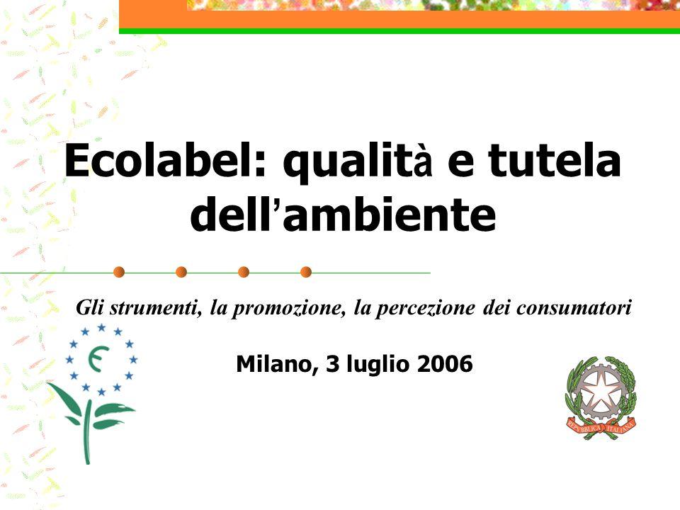Milano, 3 luglio 2006 Ecolabel: qualit à e tutela dell ambiente Gli strumenti, la promozione, la percezione dei consumatori