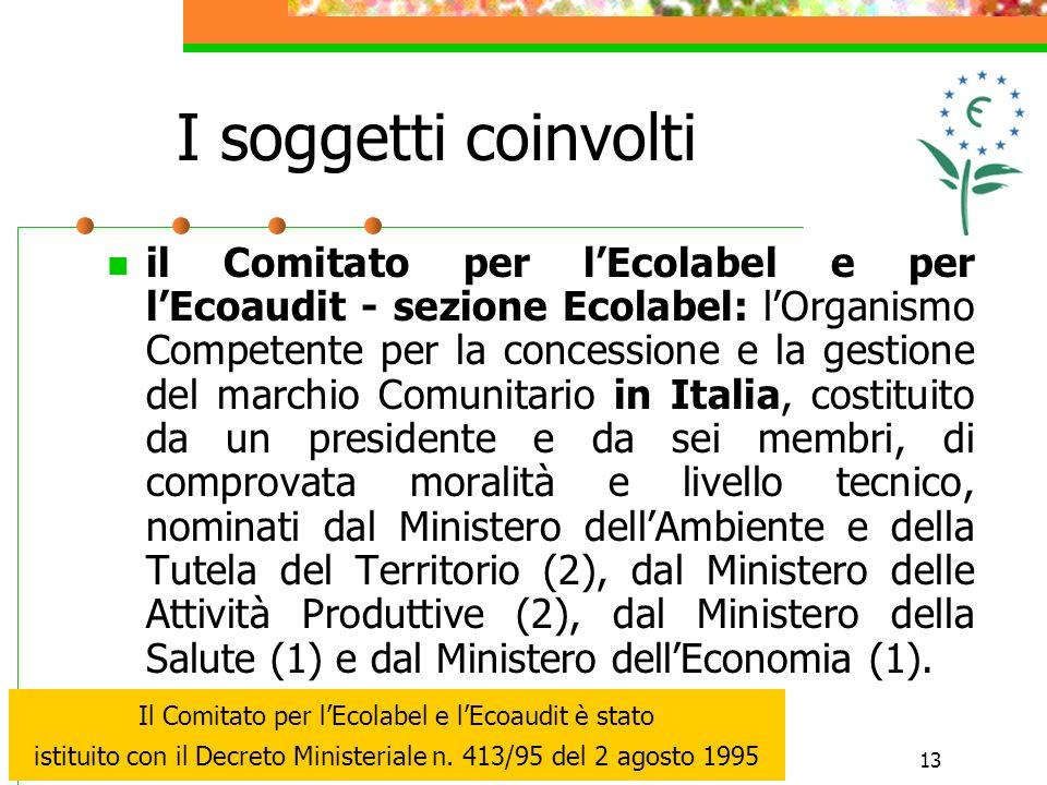 13 I soggetti coinvolti il Comitato per lEcolabel e per lEcoaudit - sezione Ecolabel: lOrganismo Competente per la concessione e la gestione del march