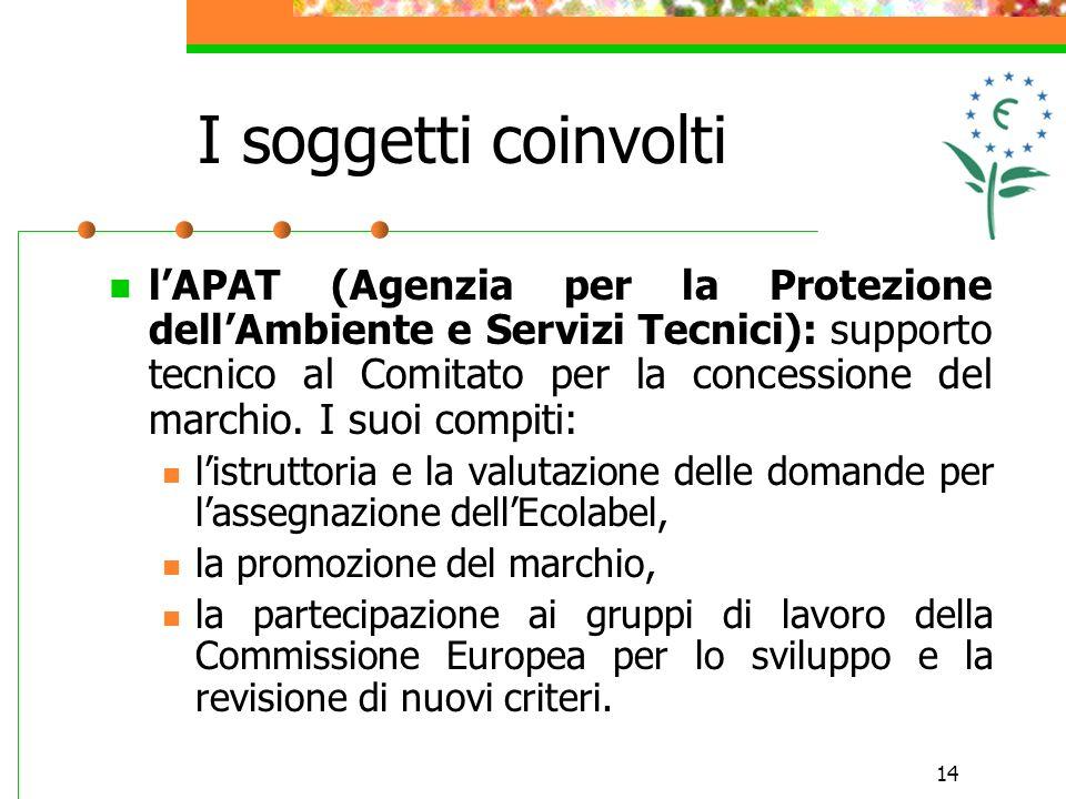 14 I soggetti coinvolti lAPAT (Agenzia per la Protezione dellAmbiente e Servizi Tecnici): supporto tecnico al Comitato per la concessione del marchio.