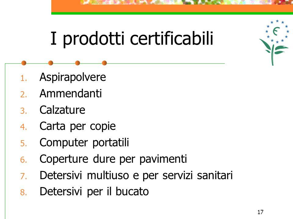 17 I prodotti certificabili 1. Aspirapolvere 2. Ammendanti 3.
