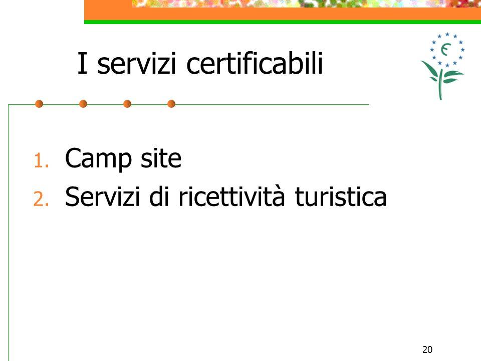 20 I servizi certificabili 1. Camp site 2. Servizi di ricettività turistica