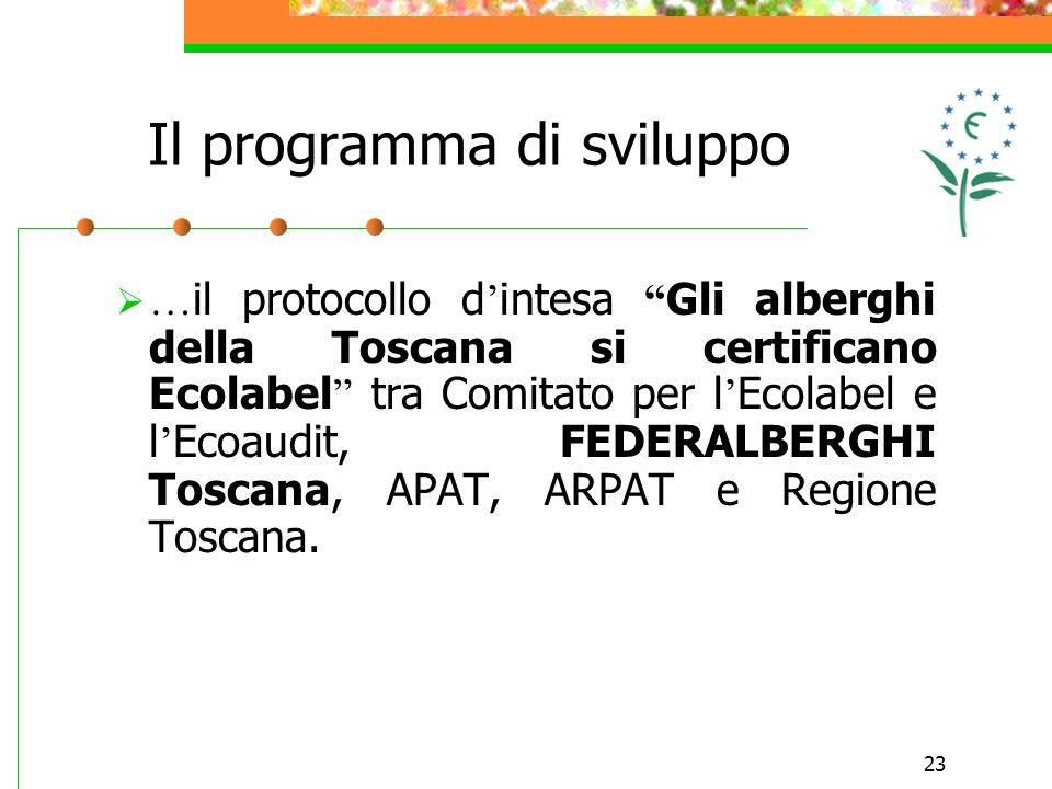 23 … il protocollo d intesa Gli alberghi della Toscana si certificano Ecolabel tra Comitato per l Ecolabel e l Ecoaudit, FEDERALBERGHI Toscana, APAT,