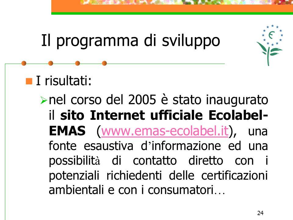 24 I risultati: nel corso del 2005 è stato inaugurato il sito Internet ufficiale Ecolabel- EMAS (www.emas-ecolabel.it), una fonte esaustiva d informazione ed una possibilit à di contatto diretto con i potenziali richiedenti delle certificazioni ambientali e con i consumatori …www.emas-ecolabel.it Il programma di sviluppo