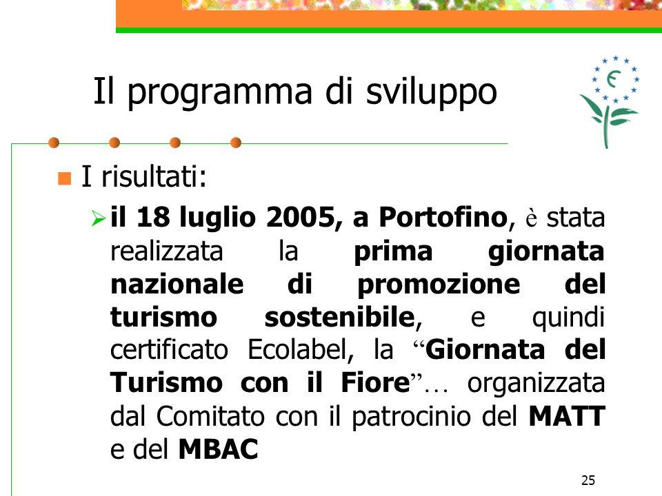 25 I risultati: il 18 luglio 2005, a Portofino, è stata realizzata la prima giornata nazionale di promozione del turismo sostenibile, e quindi certificato Ecolabel, la Giornata del Turismo con il Fiore … organizzata dal Comitato con il patrocinio del MATT e del MBAC Il programma di sviluppo
