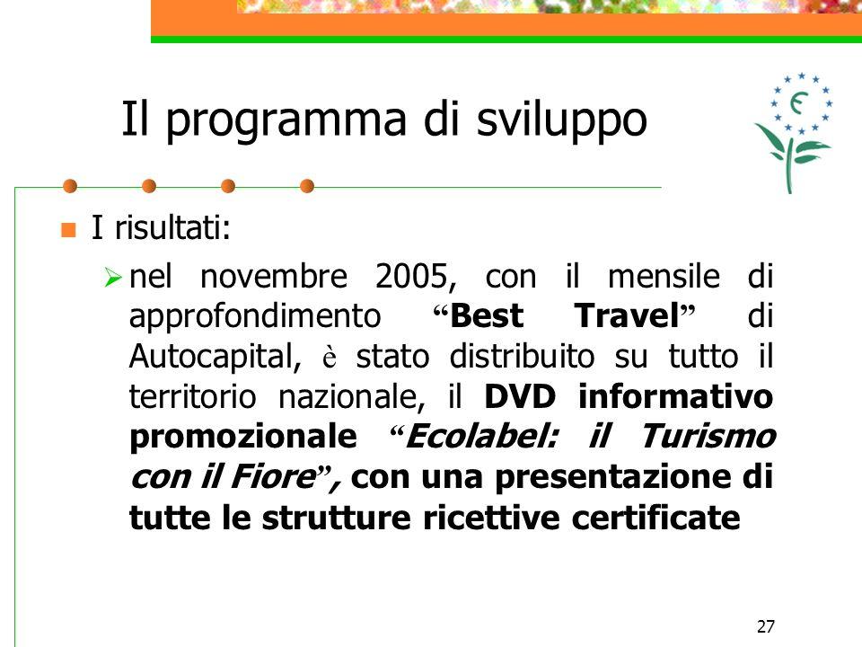 27 I risultati: nel novembre 2005, con il mensile di approfondimento Best Travel di Autocapital, è stato distribuito su tutto il territorio nazionale,