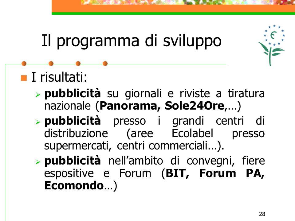 28 I risultati: pubblicità su giornali e riviste a tiratura nazionale (Panorama, Sole24Ore,…) pubblicità presso i grandi centri di distribuzione (aree Ecolabel presso supermercati, centri commerciali…).