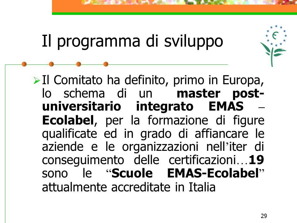 29 Il Comitato ha definito, primo in Europa, lo schema di un master post- universitario integrato EMAS – Ecolabel, per la formazione di figure qualifi