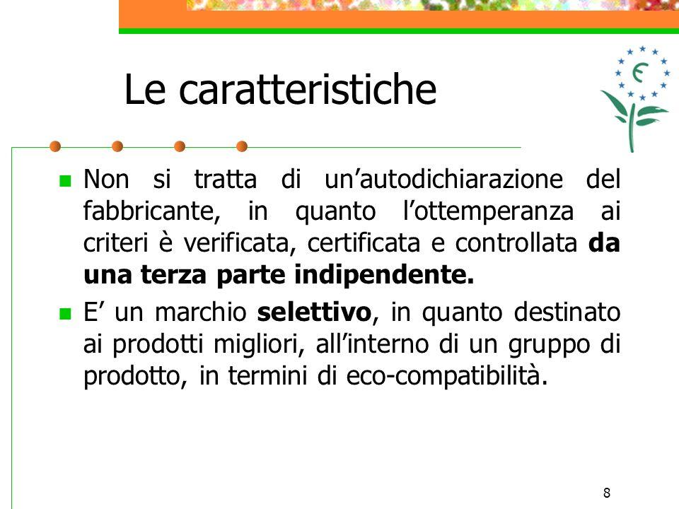 8 Le caratteristiche Non si tratta di unautodichiarazione del fabbricante, in quanto lottemperanza ai criteri è verificata, certificata e controllata da una terza parte indipendente.