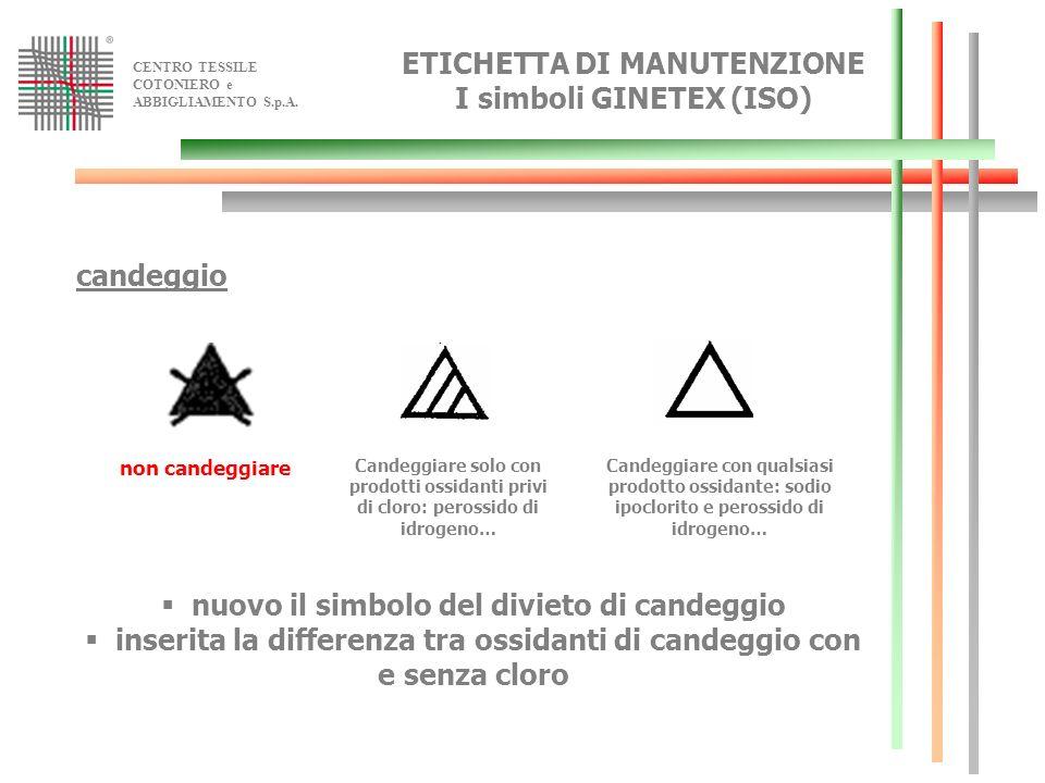 CENTRO TESSILE COTONIERO e ABBIGLIAMENTO S.p.A. ETICHETTA DI MANUTENZIONE I simboli GINETEX (ISO) candeggio non candeggiare Candeggiare con qualsiasi