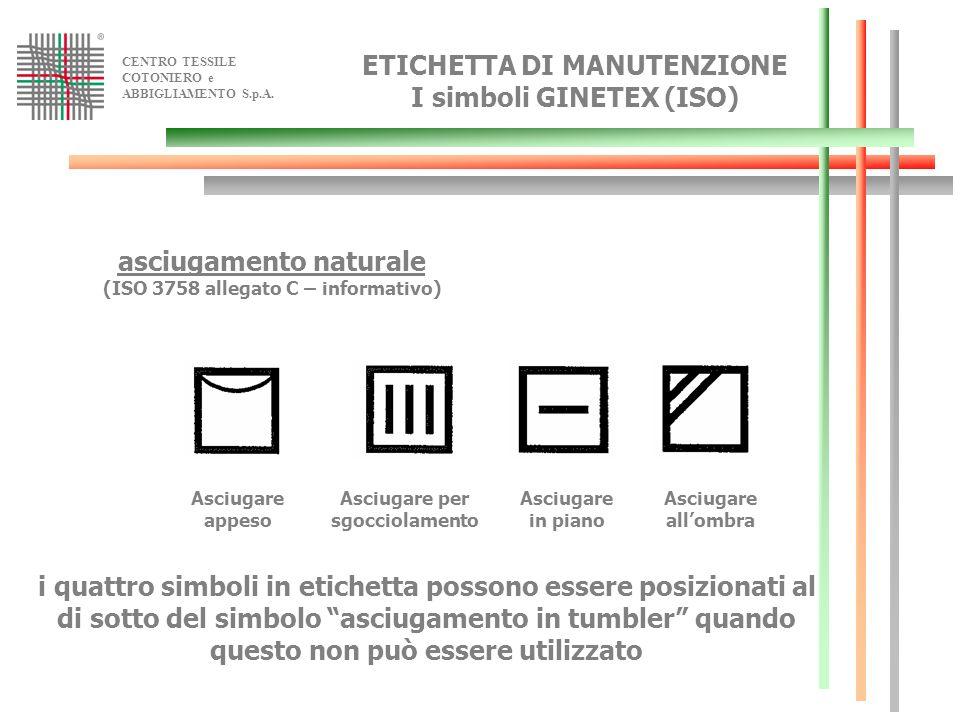 CENTRO TESSILE COTONIERO e ABBIGLIAMENTO S.p.A. asciugamento naturale (ISO 3758 allegato C – informativo) Asciugare appeso Asciugare per sgocciolament