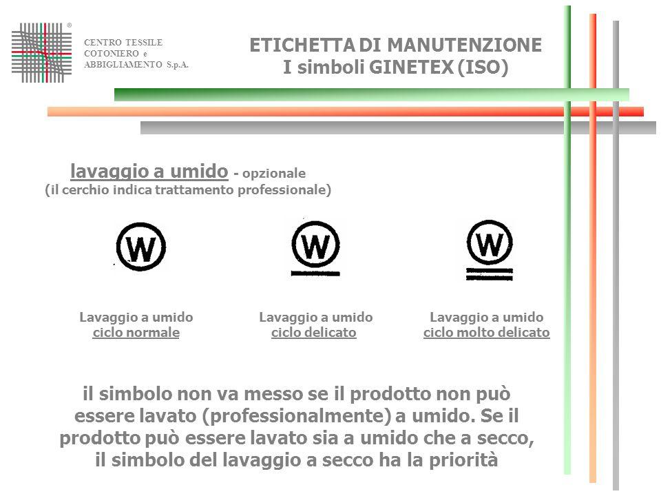 CENTRO TESSILE COTONIERO e ABBIGLIAMENTO S.p.A. lavaggio a umido - opzionale (il cerchio indica trattamento professionale) Lavaggio a umido ciclo norm