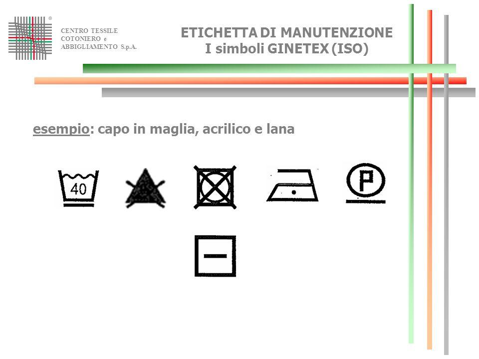 CENTRO TESSILE COTONIERO e ABBIGLIAMENTO S.p.A. esempio: capo in maglia, acrilico e lana ETICHETTA DI MANUTENZIONE I simboli GINETEX (ISO)