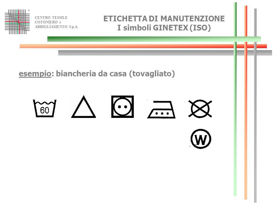 CENTRO TESSILE COTONIERO e ABBIGLIAMENTO S.p.A. esempio: biancheria da casa (tovagliato) ETICHETTA DI MANUTENZIONE I simboli GINETEX (ISO)