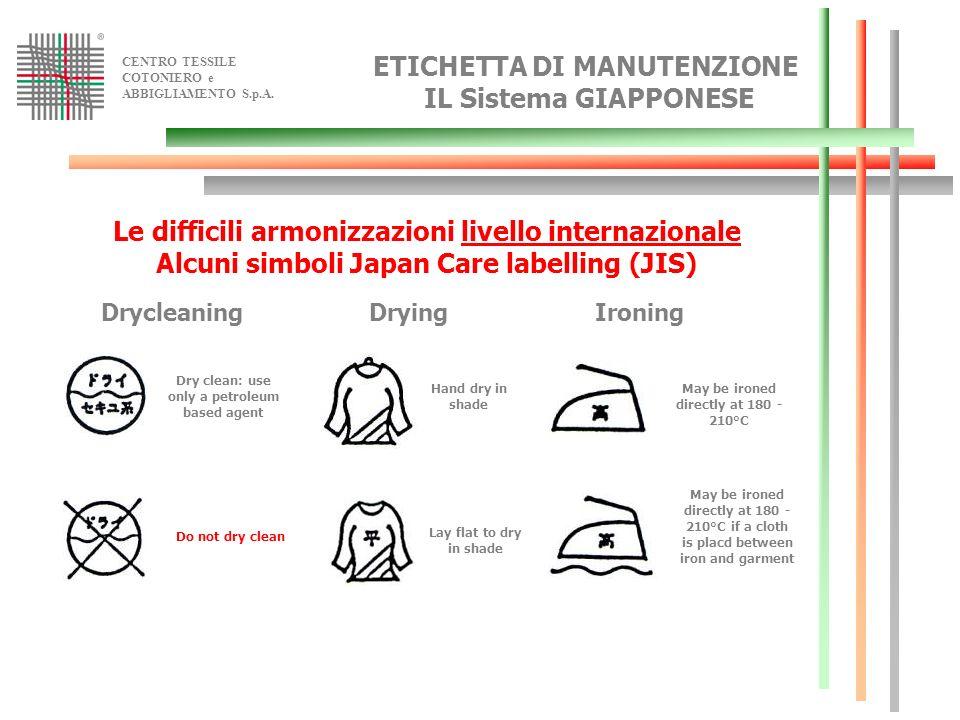 CENTRO TESSILE COTONIERO e ABBIGLIAMENTO S.p.A. ETICHETTA DI MANUTENZIONE IL Sistema GIAPPONESE Le difficili armonizzazioni livello internazionale Alc