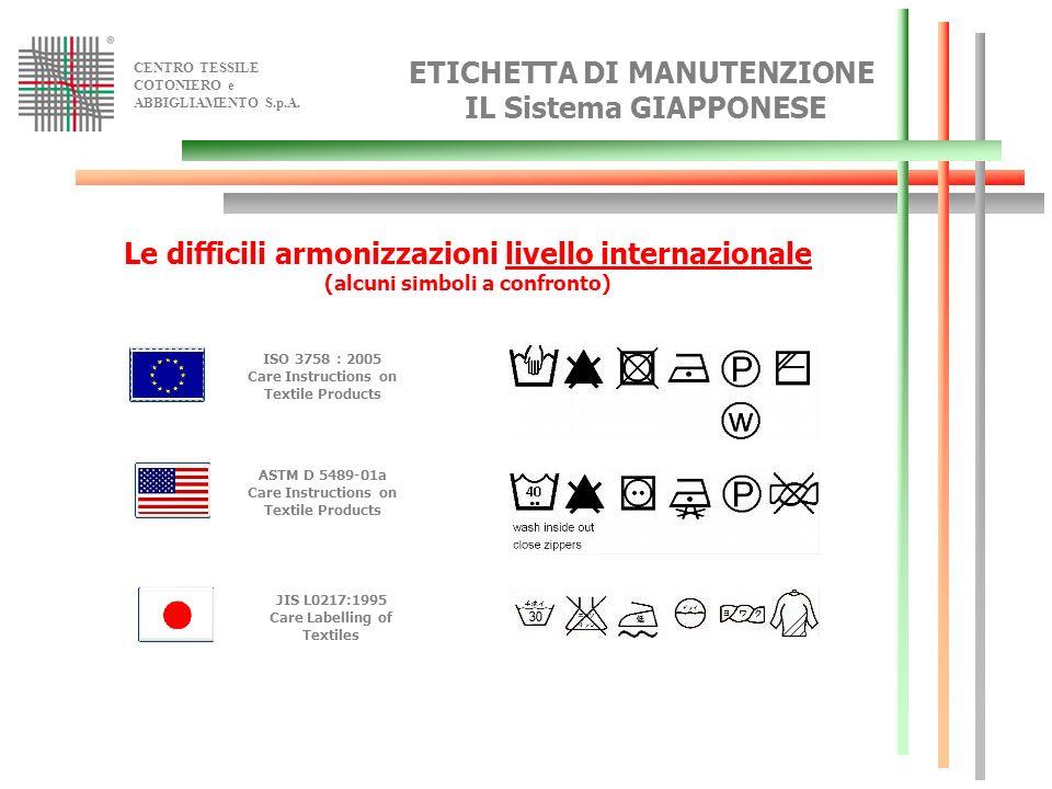 CENTRO TESSILE COTONIERO e ABBIGLIAMENTO S.p.A. ETICHETTA DI MANUTENZIONE IL Sistema GIAPPONESE Le difficili armonizzazioni livello internazionale (al