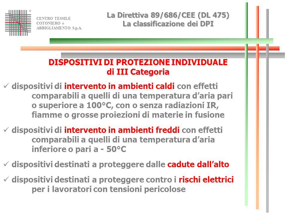 CENTRO TESSILE COTONIERO e ABBIGLIAMENTO S.p.A. La Direttiva89/686/CEE (DL 475) La classificazione dei DPI La Direttiva 89/686/CEE (DL 475) La classif