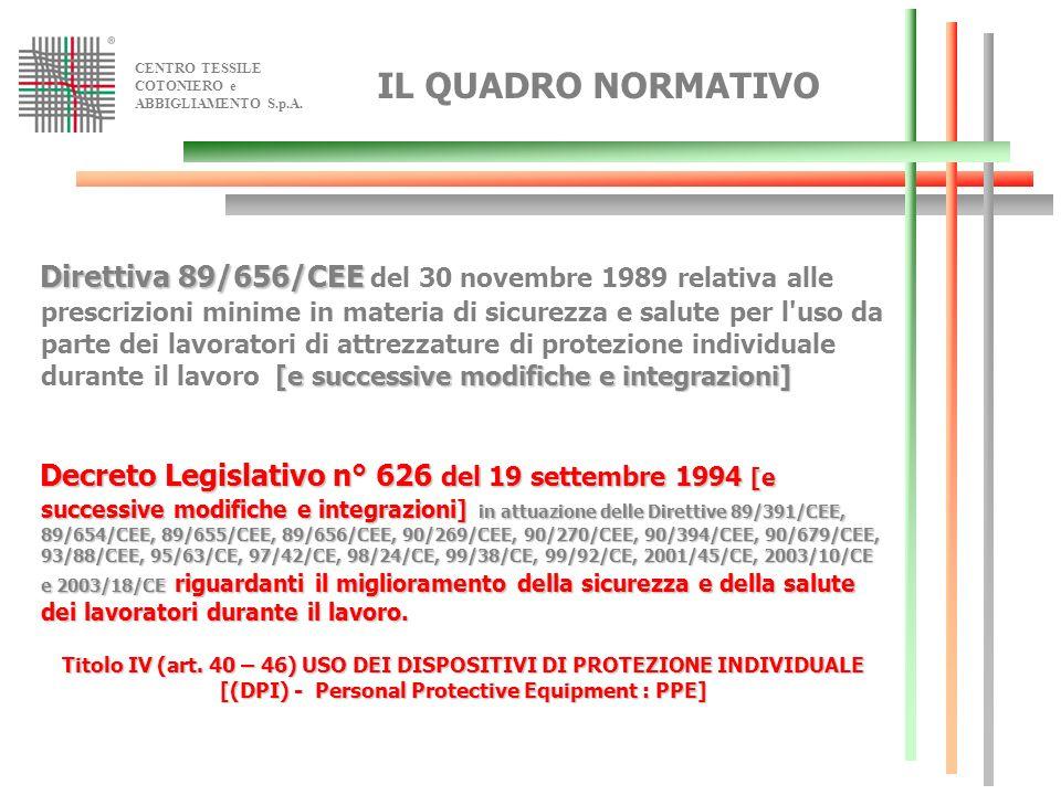 CENTRO TESSILE COTONIERO e ABBIGLIAMENTO S.p.A. IL QUADRO NORMATIVO Direttiva 89/656/CEE [e successive modifiche e integrazioni] Direttiva 89/656/CEE