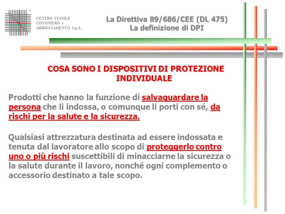 CENTRO TESSILE COTONIERO e ABBIGLIAMENTO S.p.A. La Direttiva 89/686/CEE (DL 475) La definizione di DPI COSA SONO I DISPOSITIVI DI PROTEZIONE INDIVIDUA