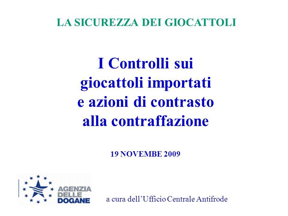 1 I Controlli sui giocattoli importati e azioni di contrasto alla contraffazione 19 NOVEMBE 2009 a cura dellUfficio Centrale Antifrode LA SICUREZZA DEI GIOCATTOLI