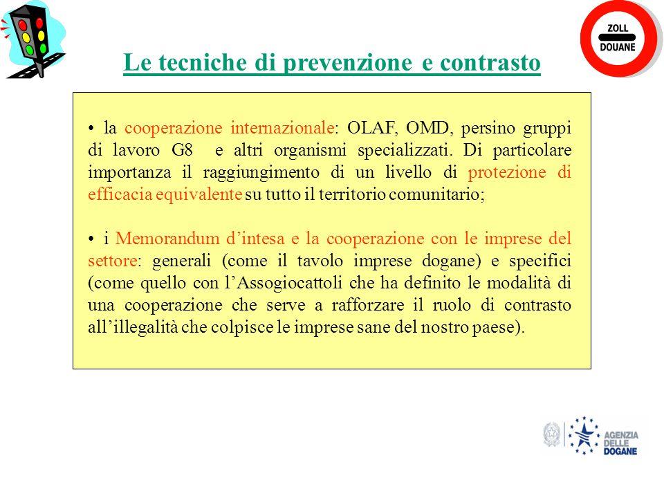 20 la cooperazione internazionale: OLAF, OMD, persino gruppi di lavoro G8 e altri organismi specializzati.