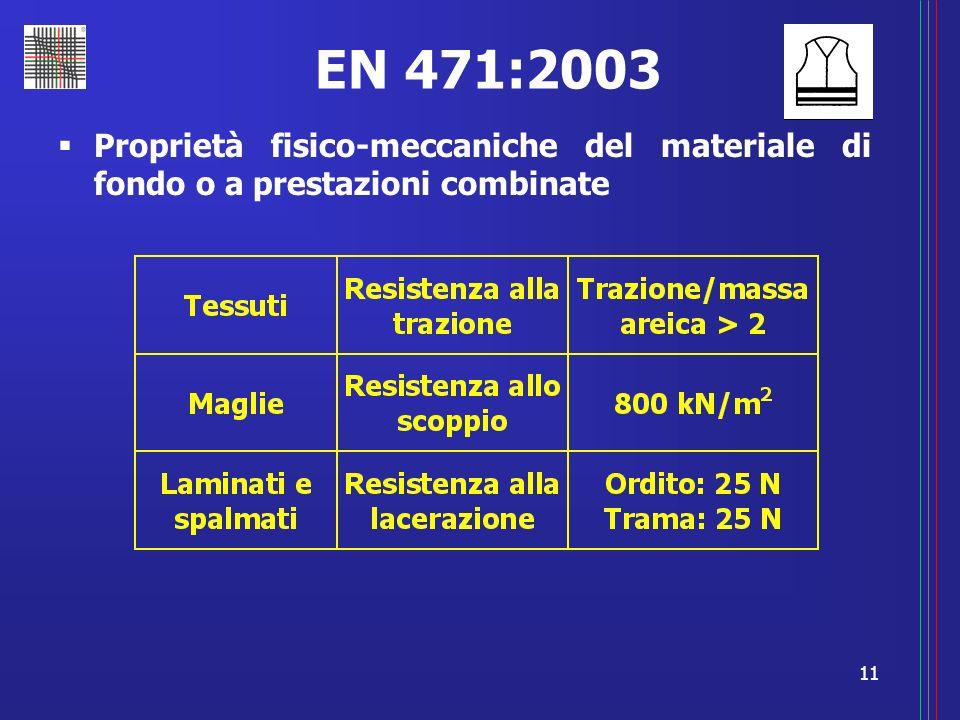 11 EN 471:2003 Proprietà fisico-meccaniche del materiale di fondo o a prestazioni combinate