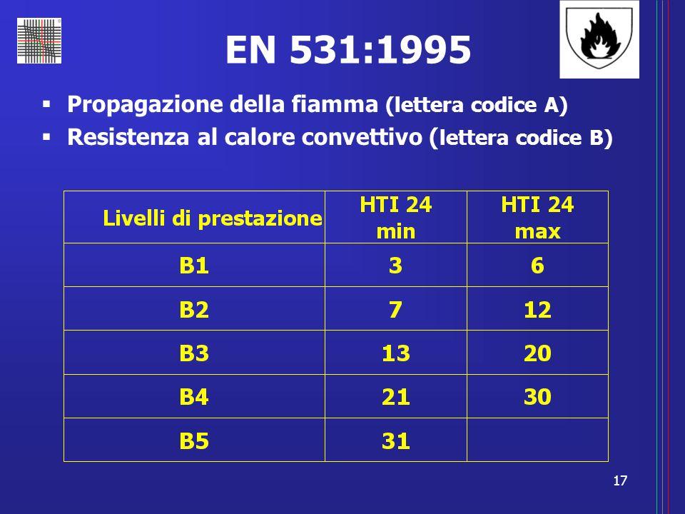 17 EN 531:1995 Propagazione della fiamma (lettera codice A) Resistenza al calore convettivo ( lettera codice B)