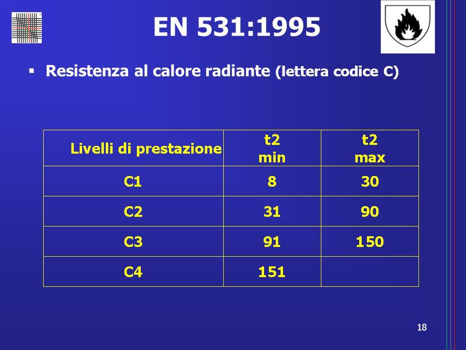 18 EN 531:1995 Resistenza al calore radiante (lettera codice C)