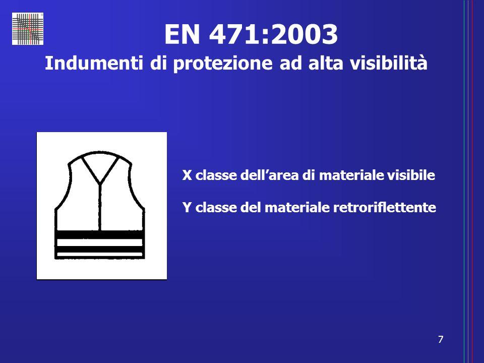 7 EN 471:2003 Indumenti di protezione ad alta visibilità X classe dellarea di materiale visibile Y classe del materiale retroriflettente