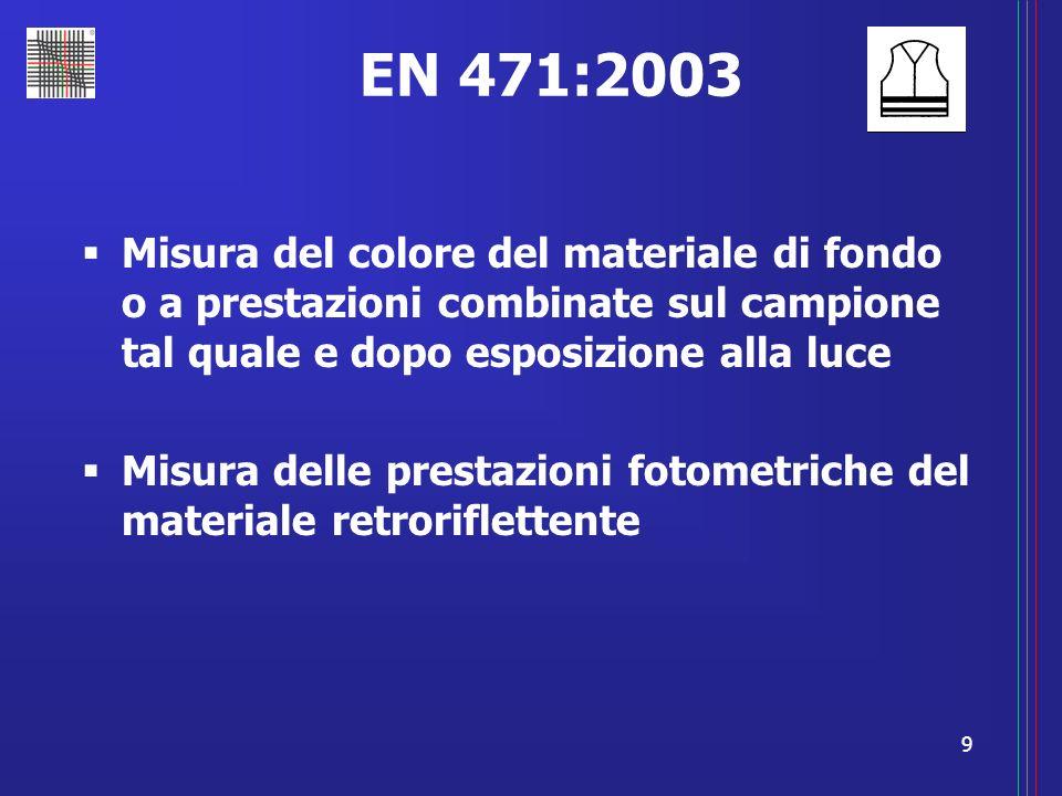 9 EN 471:2003 Misura del colore del materiale di fondo o a prestazioni combinate sul campione tal quale e dopo esposizione alla luce Misura delle pres