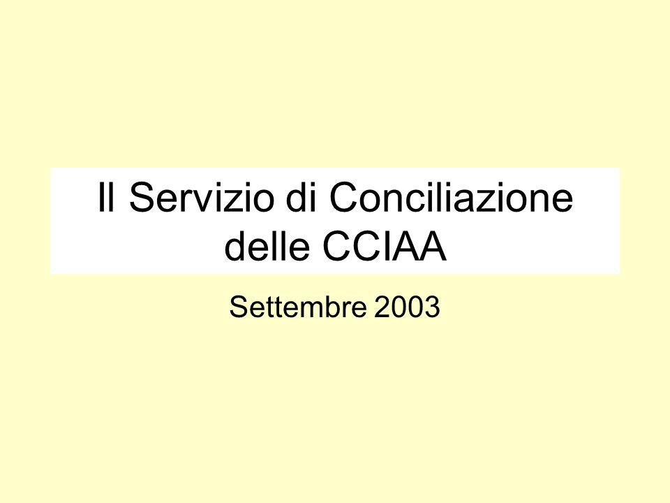 Il Servizio di Conciliazione delle CCIAA Settembre 2003