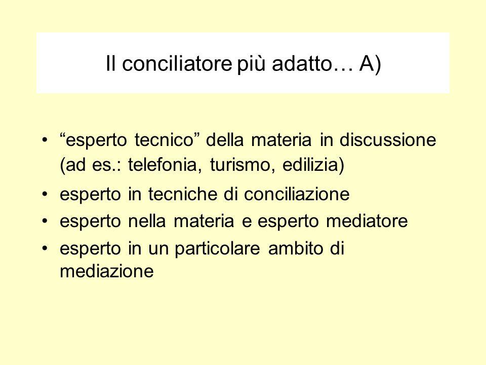Il conciliatore più adatto… A) esperto tecnico della materia in discussione (ad es.: telefonia, turismo, edilizia) esperto in tecniche di conciliazion