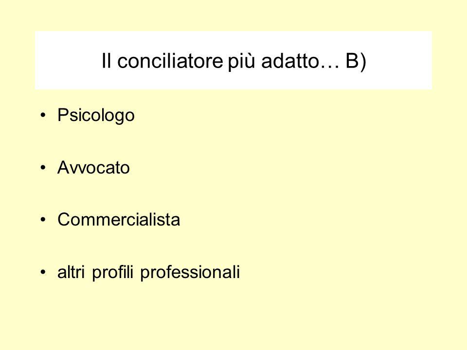 Il conciliatore più adatto… B) Psicologo Avvocato Commercialista altri profili professionali