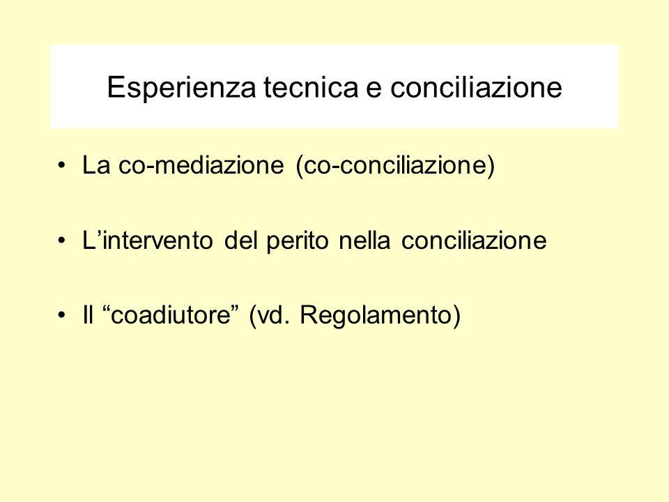 Esperienza tecnica e conciliazione La co-mediazione (co-conciliazione) Lintervento del perito nella conciliazione Il coadiutore (vd. Regolamento)