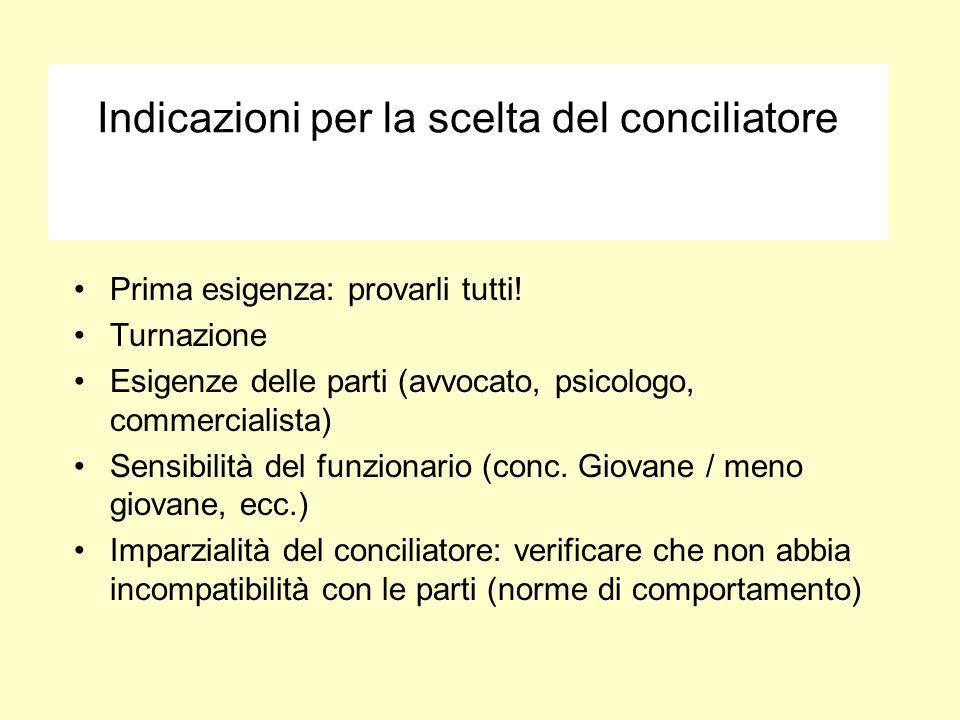 Indicazioni per la scelta del conciliatore Prima esigenza: provarli tutti! Turnazione Esigenze delle parti (avvocato, psicologo, commercialista) Sensi
