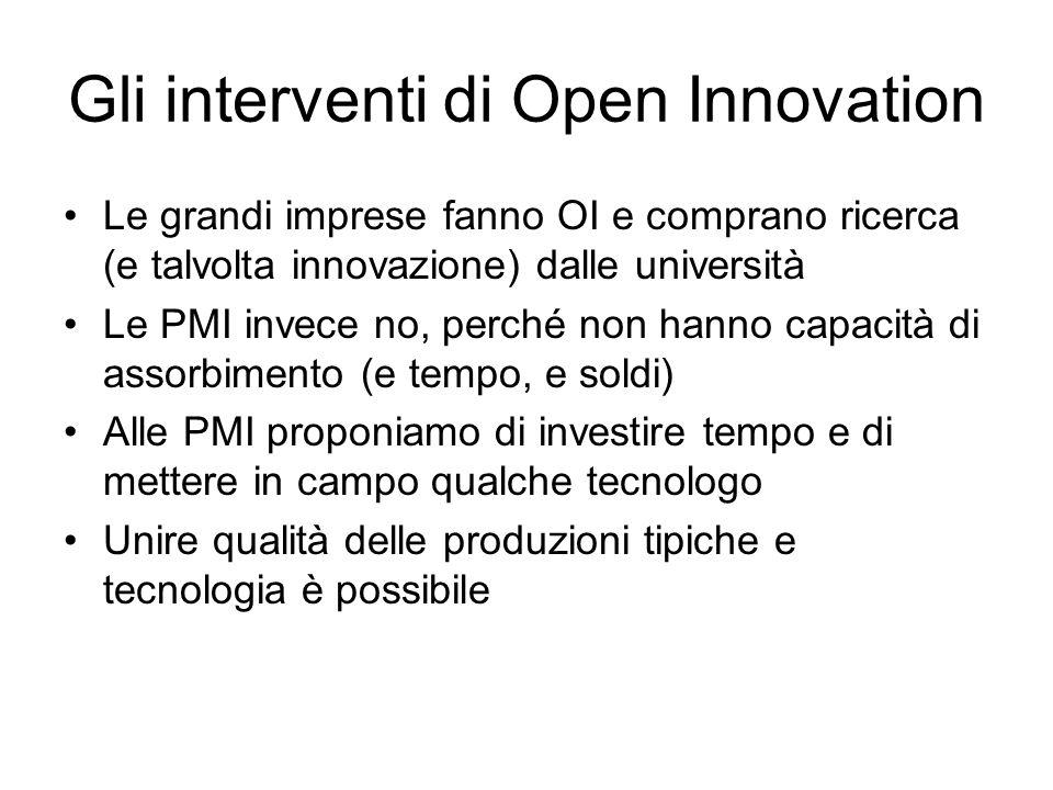 Gli interventi di Open Innovation Le grandi imprese fanno OI e comprano ricerca (e talvolta innovazione) dalle università Le PMI invece no, perché non hanno capacità di assorbimento (e tempo, e soldi) Alle PMI proponiamo di investire tempo e di mettere in campo qualche tecnologo Unire qualità delle produzioni tipiche e tecnologia è possibile