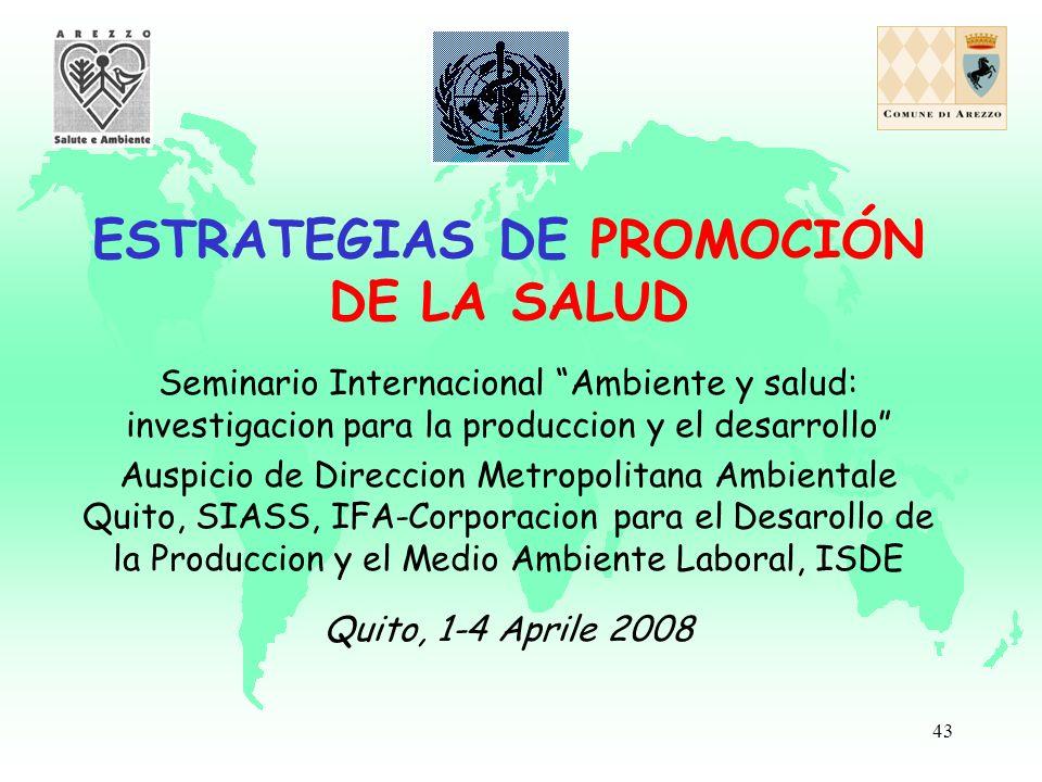 43 ESTRATEGIAS DE PROMOCIÓN DE LA SALUD Seminario Internacional Ambiente y salud: investigacion para la produccion y el desarrollo Auspicio de Direccion Metropolitana Ambientale Quito, SIASS, IFA-Corporacion para el Desarollo de la Produccion y el Medio Ambiente Laboral, ISDE Quito, 1-4 Aprile 2008