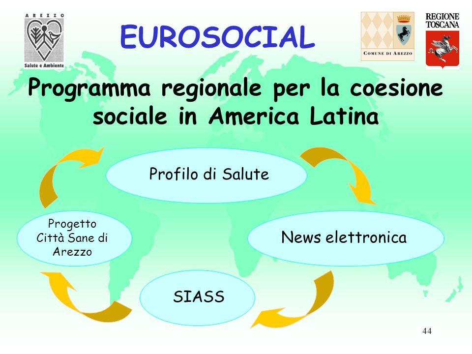 44 EUROSOCIAL Programma regionale per la coesione sociale in America Latina Progetto Città Sane di Arezzo Profilo di Salute News elettronica SIASS