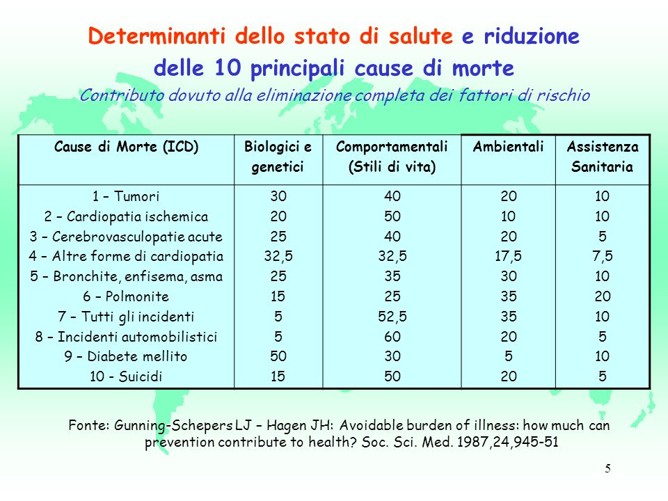 5 Cause di Morte (ICD)Biologici e genetici Comportamentali (Stili di vita) AmbientaliAssistenza Sanitaria 1 – Tumori 2 – Cardiopatia ischemica 3 – Cerebrovasculopatie acute 4 – Altre forme di cardiopatia 5 – Bronchite, enfisema, asma 6 – Polmonite 7 – Tutti gli incidenti 8 – Incidenti automobilistici 9 – Diabete mellito 10 - Suicidi 30 20 25 32,5 25 15 5 50 15 40 50 40 32,5 35 25 52,5 60 30 50 20 10 20 17,5 30 35 20 5 20 10 5 7,5 10 20 10 5 10 5 Fonte: Gunning-Schepers LJ – Hagen JH: Avoidable burden of illness: how much can prevention contribute to health.
