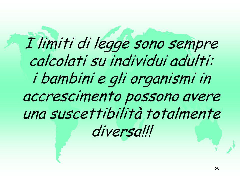 50 I limiti di legge sono sempre calcolati su individui adulti: i bambini e gli organismi in accrescimento possono avere una suscettibilità totalmente diversa!!!