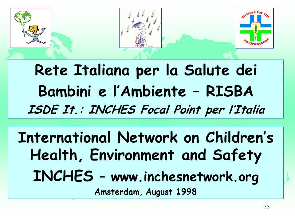 53 Rete Italiana per la Salute dei Bambini e lAmbiente – RISBA ISDE It.: INCHES Focal Point per lItalia International Network on Childrens Health, Env