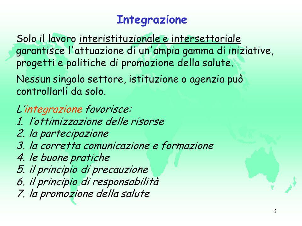 6 Integrazione Solo il lavoro interistituzionale e intersettoriale garantisce l attuazione di un ampia gamma di iniziative, progetti e politiche di promozione della salute.