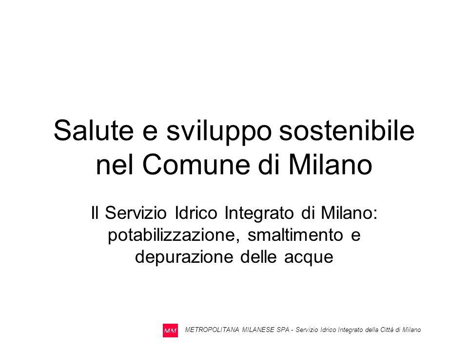 METROPOLITANA MILANESE SPA - Servizio Idrico Integrato della Città di Milano IL SISTEMA DI DEPURAZIONE DELLE ACQUE REFLUE risulta articolato su tre impianti, a servizio dei tre bacini scolanti del territorio comunale: –Milano Est (Peschiera Borromeo – 2^ linea) a servizio del Bacino Orientale (S 2.230 ha) –Milano Nosedo a servizio del Bacino Centro – Orentale (S 6.900 ha ) –Milano San Rocco a servizio del Bacino Occidentale e del Comune di Settimo Mil.(S 10.130 ha) Gli impianti sono stati localizzati in modo da garantire il mantenimento degli apporti preesistenti nei diversi corpi idrici ricettori